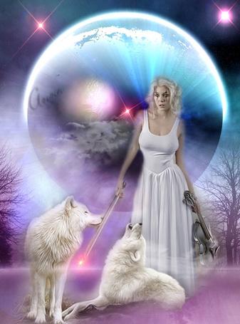 Фото Девушка на фоне огромной планеты, в руках скрипка и смычок, рядом два белых волка