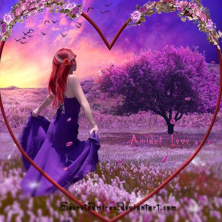 Фото Рыжеволосая девушка с розой в голове, держась за подол фиолетового платья, идущая по цветочной поляне к дереву с сиреневыми листьями на фоне обруча в форме сердечка, обвитого цветами и заката на вечернем небосклоне, Amidst Love / Среди Любви, автор Secretadmires