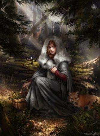 Фото Девушка с корзинкой сидит у бревна, в лесу, рядом лежит рыжий лисенок