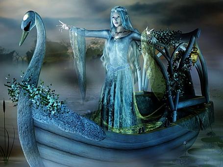 Фото Фея воды плывет стоя в ладье, расставив в стороны руки. Сзади горит зажженный фонарь