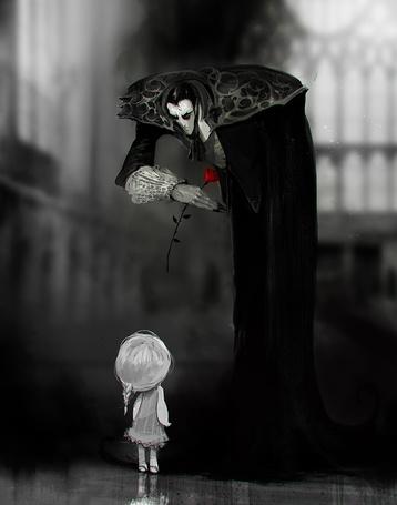 Фото Маленькая девочка смотрит на склонившегося над ней вампира с красной розой в руке, by SvetoslavPetrov