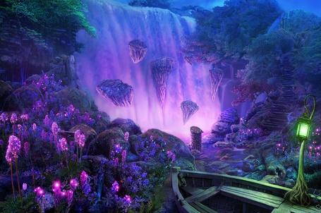 Фото Лодка стоит у скалистого берега напротив водопада, вокруг цветут цветы с магическим сиреневым сиянием, by realnam