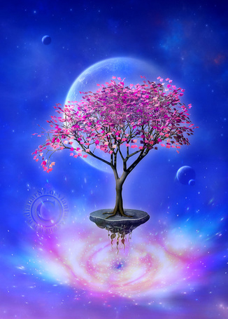 Фото Дерево с розовой листвой растет на маленьком островке, который парит в космосе