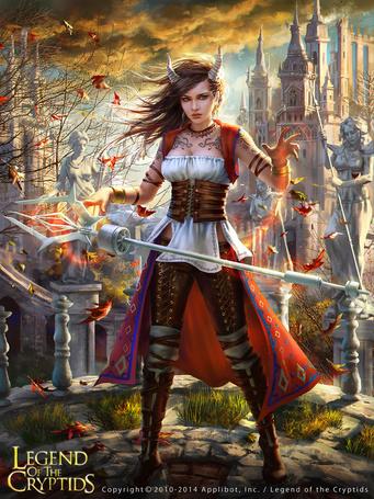 Фото Девушка-демон, управляя магическим посохом, вызывает вихрь из осенних листьев, арт по игре Legend Of The Cryptids