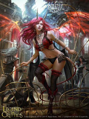 Фото Девушка-демон, окрыленная огненным заклятием, арт по игре Legend Of The Cryptids