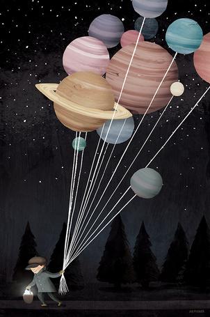 Фото Мужчина с корзиной звезд в одной руке и планетами, привязанными за веревочкам, в другой руке