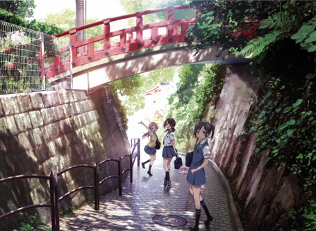 Фото Персонажи аниме Tari Tari / И то. и другое: Вакана Сакай / Wakana Sakai, Сава Окита / Sawa Okita, Конатсу Миямото / Konatsu Miyamoto идут по дороге под красным мостом