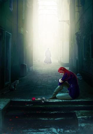 Фото Рыжеволосая девушка, опустив голову, сидящая на каменных ступеньках с лежащей рядом с ней красной розой, грустит о мужчине, силуэт которого удаляется от нее по мощеной мостовой в ярких, солнечных лучах, напротив нее у дома сидит серая кошка, автор sasha-fantom