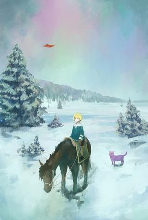 Фото Светловолосый мальчик верхом на лошади