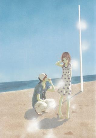 Фото Мотохару Яно / Motoharu Yano и Нанами Такахаши / Nanami Takahashi из аниме Это были мы / Bokura ga Ita вместе на пляже