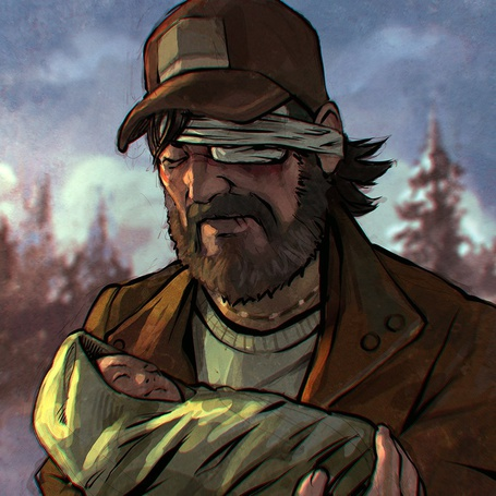 Фото Кенни / Kenny из видеоигры Ходячие мертвецы / The walking dead с перебентованным глазом, держит грудного ребенка, арт by KR0NPR1NZ