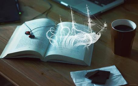 Фото Из открытой книги появился волшебный корабль, by Aetere