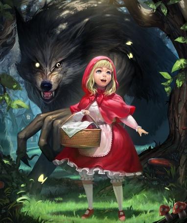 Фото Девочка Красная Шапочка с корзинкой и страшный Серый Волк