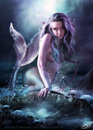 Фото Девушка - русалка сидит на камне, в море среди черепов
