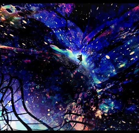 Фото Девушка идет по округлой поверхности к чему-то яркому, арт от Harada Miyuki