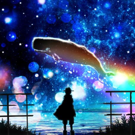 Фото Мальчик в накидке и шляпе смотрит как по небу пролетает кит, арт от Harada Miyuki