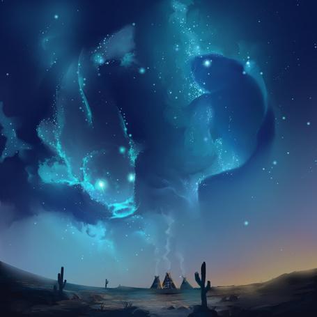 Фото Три вигвама, из которых идет дым, на фоне ночного неба, где звезды образуют рыб
