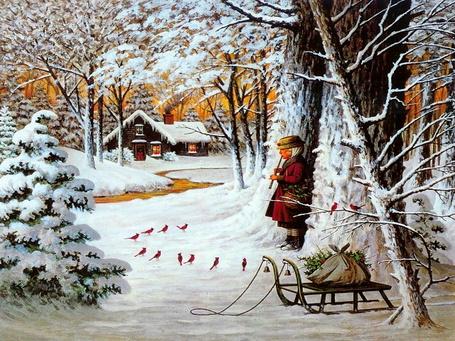Фото В зимнем лесу под деревом, недалеко от ручья и избушки девочка играет на дудочке птичкам, которые полукругом расселись на снегу вокруг нее, рядом стоят санки с узелком