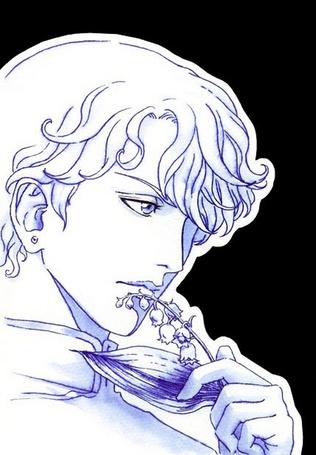Фото Нарисованный молодой парень держит в руке у губ веточку <strong>девушка с розой на губах</strong> ландышей, вспоминая свою любимую