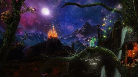 Фото Девушка, стоящая на изогнутом стволе дерева, проложенном в сказочном, горном образовании со светящимся замком на вершине скалы, лесных феях и других сказочных персонажах. сидящих на скалах и ветках деревьев, медведицы с медвежонком на спине, ползущих по стволу дерева на фоне ночного, звездного небосклона с ярко светящейся луной, автор Kurtzan