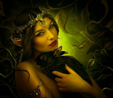 Фото Девушка-эльф держит на руках черного кролика, работа ElenaDudina