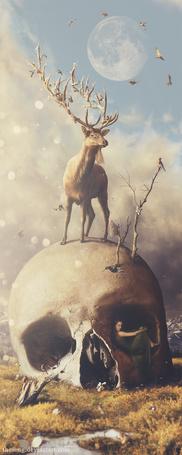Фото Четырехглазый олень с цветами и гнездом на рогах стоит на огромном черепе, из которого растут ветки, на одной из которых сидит птица, в глазнице черепа сидит девушка, на фоне облачного неба, в котором парят птицы и полная луна