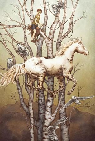 Фото Насквозь пронизавший лошадь ствол дерева, на ветках которого сидит мальчик на седле, с поводьями в руках, сидят совы и другие совы летают вокруг, автор O'Hara