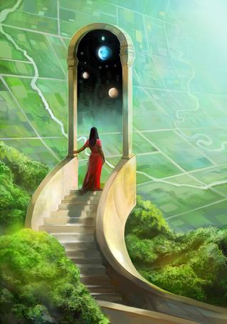 Фото Девушка стоит на лестнице перед волшебным порталом