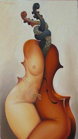 Фото Музыкальные инструменты в виде влюбленной пары, by kowelvain