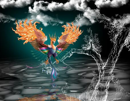 Фото Птица Феникс сидит на ветках прозрачного дерева, на фоне облачного неба, отражаясь в воде