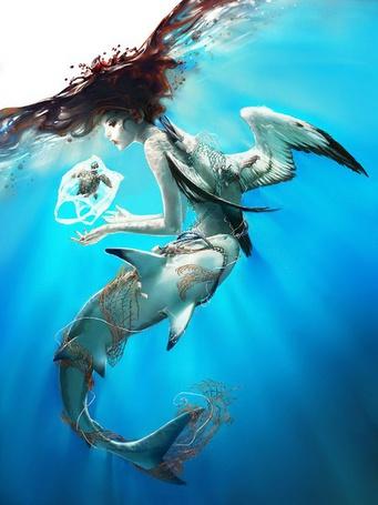 Фото Девушка под водой с привязанной к ней акулой и птицей тянет руки к плывущей черепашке, by Yuumei
