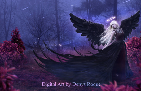 Фото Девушка в черном белом платье с черными ангельскими крыльями за спиной