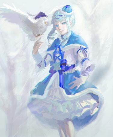 Фото Девушке на руку садится белая сова
