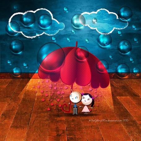 Фото Мальчик и девочка стоят под зонтом в сердечках, с облаков большими каплями капает дождь, by TheGalleryOfEve