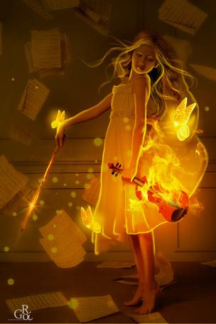 Фото Девочка с горящей скрипкой в руках в окружении бабочек и нотных листов, by GORI89