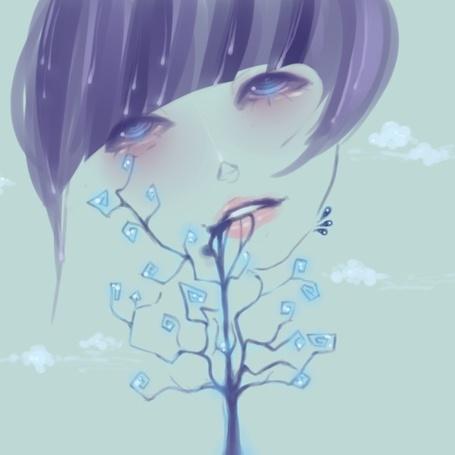 Фото Грустное лицо девушки с деревом