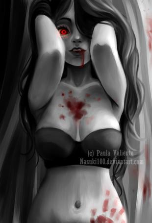 Фото Темноволосая вампирша, с губ которой стекает кровь, art by Nasuki100