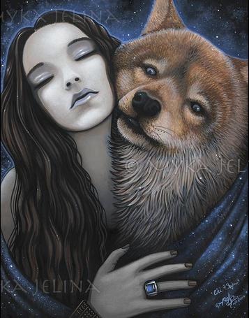 Фото Девушка закрыв глаза и волк с любовью прижимаются друг другу, KAJELINA