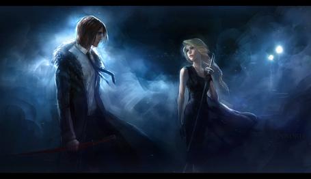 Фото Девушка и парень с мечами