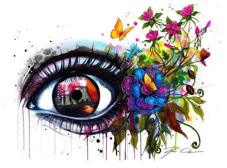 Фото Глаз девушки с цветами, ву PixieCold