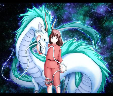 Фото Тихиро Огино / Chihiro Ogino и Хаку / Haku в воплощении дракона из аниме Унесенные призраками / Sen to Chihiro no kamikakushi