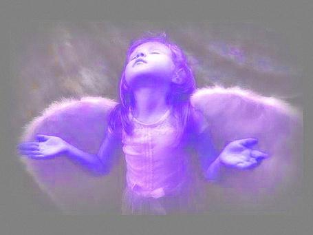 Фото Девочка Ангел с белыми крыльями закрыла глаза, расставила в стороны руки и подняла головку вверх