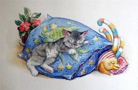 Фото Котенок спит на подушке с нарисованной рыбой, звездами, под подушкой спит на маленькой подушке сказочное существо, похожее на дельфина, рядом стоит горшок с растущими цветами