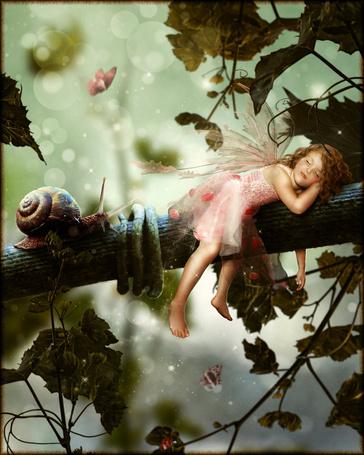 Фото Маленькая девочка фея спит на ветке дерева, к ней ползет улитка