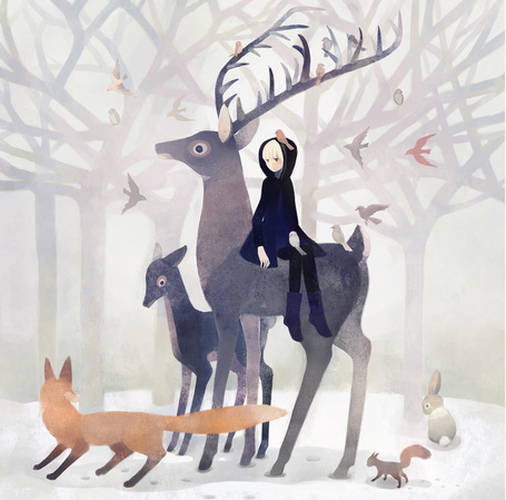 Фото Девушка сидит на олене, рядом лиса, белка и кролик