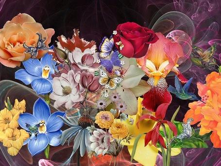 Фото Яркие живописные цветы с летающими над ними бабочками, птичками и розовым туманом