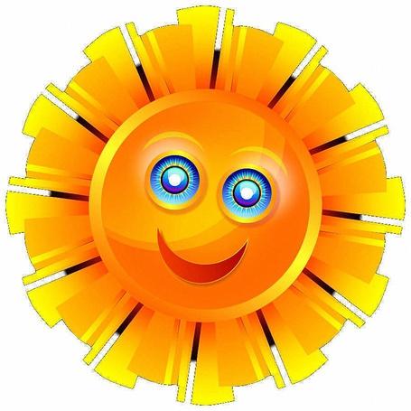 Фото Рисованное желтое Солнце с лучами, голубыми глазами и улыбающимся ртом