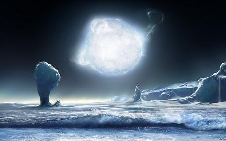 Фото Замерзшее море от взрыва планеты