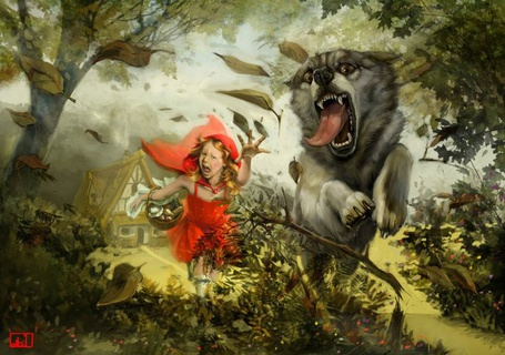 Фото Волк убегает от Красной Шапочки