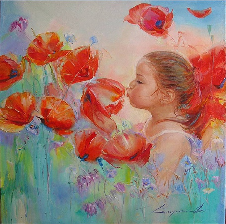 Фото Девочка целует красный цветок мака, художница Kapustina Elena